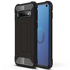 Coque Contour Silicone et Plastique Housse Etui Mat R01 pour Samsung Galaxy S10 Noir