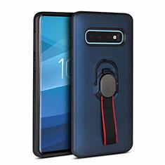Coque Contour Silicone et Plastique Housse Etui Mat R01 pour Samsung Galaxy S10 Plus Bleu