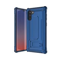 Coque Contour Silicone et Plastique Housse Etui Mat U01 pour Samsung Galaxy Note 10 Bleu