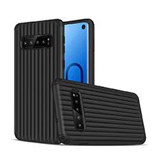 Coque Contour Silicone et Plastique Housse Etui Mat U01 pour Samsung Galaxy S10 Noir