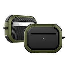 Coque Contour Silicone et Plastique Housse Etui Mat U03 pour Apple AirPods Pro Vert Armee