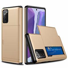 Coque Contour Silicone et Plastique Housse Etui Protection Integrale 360 Degres N01 pour Samsung Galaxy Note 20 5G Or