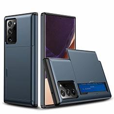 Coque Contour Silicone et Plastique Housse Etui Protection Integrale 360 Degres N01 pour Samsung Galaxy Note 20 Ultra 5G Bleu