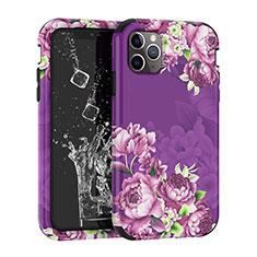 Coque Contour Silicone et Plastique Housse Etui Protection Integrale 360 Degres pour Apple iPhone 11 Pro Violet