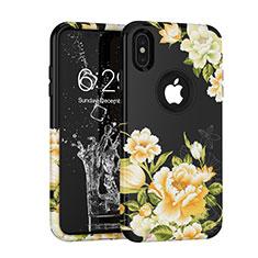 Coque Contour Silicone et Plastique Housse Etui Protection Integrale 360 Degres pour Apple iPhone X Noir