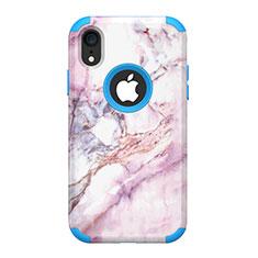 Coque Contour Silicone et Plastique Housse Etui Protection Integrale 360 Degres pour Apple iPhone XR Bleu