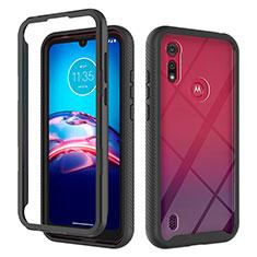 Coque Contour Silicone et Plastique Housse Etui Protection Integrale 360 Degres pour Motorola Moto E6s (2020) Noir