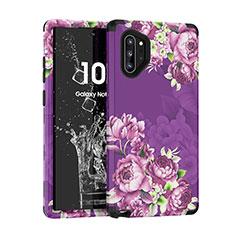Coque Contour Silicone et Plastique Housse Etui Protection Integrale 360 Degres pour Samsung Galaxy Note 10 Plus 5G Violet