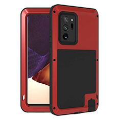 Coque Contour Silicone et Plastique Housse Etui Protection Integrale 360 Degres pour Samsung Galaxy Note 20 Ultra 5G Rouge