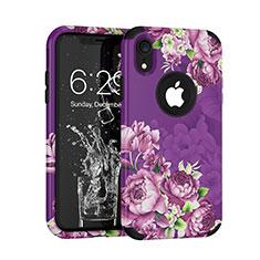 Coque Contour Silicone et Plastique Housse Etui Protection Integrale 360 Degres U01 pour Apple iPhone XR Violet
