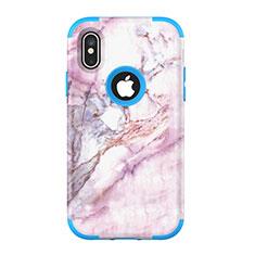 Coque Contour Silicone et Plastique Housse Etui Protection Integrale 360 Degres U01 pour Apple iPhone Xs Bleu