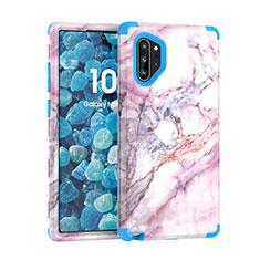 Coque Contour Silicone et Plastique Housse Etui Protection Integrale 360 Degres U01 pour Samsung Galaxy Note 10 Plus 5G Bleu