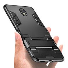 Coque Contour Silicone et Plastique Mat avec Support Bague Anneau A01 pour Samsung Galaxy J3 Star Noir