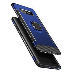 Coque Contour Silicone et Plastique Mat avec Support Bague Anneau A01 pour Samsung Galaxy Note 8 Duos N950F Bleu