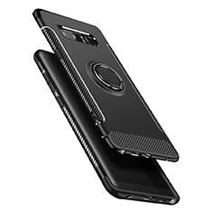 Coque Contour Silicone et Plastique Mat avec Support Bague Anneau A01 pour Samsung Galaxy Note 8 Duos N950F Noir