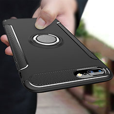 Coque Contour Silicone et Plastique Mat avec Support Bague Anneau A03 pour Apple iPhone 7 Plus Noir