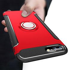 Coque Contour Silicone et Plastique Mat avec Support Bague Anneau A03 pour Apple iPhone 7 Plus Rouge