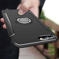 Coque Contour Silicone et Plastique Mat avec Support Bague Anneau A03 pour Apple iPhone 8 Plus Noir