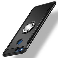Coque Contour Silicone et Plastique Mat avec Support Bague Anneau pour Huawei Honor 7X Noir