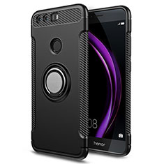 Coque Contour Silicone et Plastique Mat avec Support Bague Anneau pour Huawei Honor 8 Noir