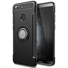 Coque Contour Silicone et Plastique Mat avec Support Bague Anneau pour Huawei Honor 9 Lite Noir