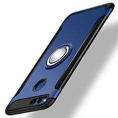 Coque Contour Silicone et Plastique Mat avec Support Bague Anneau pour Huawei Honor Play 7X Bleu
