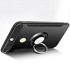 Coque Contour Silicone et Plastique Mat avec Support Bague Anneau pour Huawei Honor V9 Noir