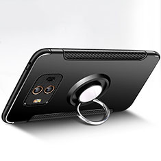 Coque Contour Silicone et Plastique Mat avec Support Bague Anneau pour Huawei Mate 10 Noir