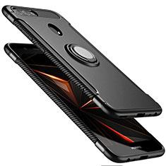 Coque Contour Silicone et Plastique Mat avec Support Bague Anneau pour Huawei Nova 2 Plus Noir