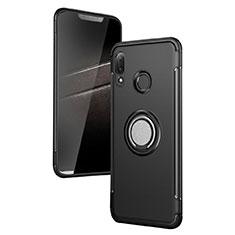 Coque Contour Silicone et Plastique Mat avec Support Bague Anneau pour Huawei P Smart+ Plus Noir