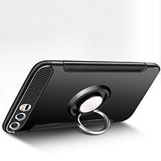 Coque Contour Silicone et Plastique Mat avec Support Bague Anneau pour Huawei P10 Plus Noir
