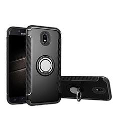Coque Contour Silicone et Plastique Mat avec Support Bague Anneau pour Samsung Galaxy J5 Pro (2017) J530Y Noir