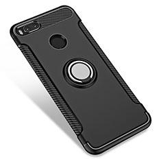 Coque Contour Silicone et Plastique Mat avec Support Bague Anneau pour Xiaomi Mi 5X Noir