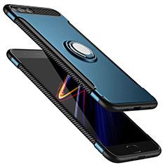 Coque Contour Silicone et Plastique Mat avec Support Bague Anneau pour Xiaomi Mi 6 Bleu