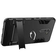 Coque Contour Silicone et Plastique Mat avec Support Bague Anneau pour Xiaomi Pocophone F1 Noir