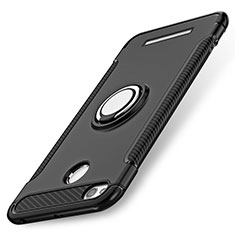 Coque Contour Silicone et Plastique Mat avec Support Bague Anneau pour Xiaomi Redmi 3S Noir