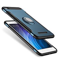 Coque Contour Silicone et Plastique Mat avec Support Bague Anneau pour Xiaomi Redmi 4A Bleu