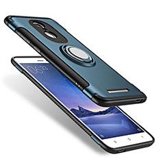 Coque Contour Silicone et Plastique Mat avec Support Bague Anneau pour Xiaomi Redmi Note 3 Bleu