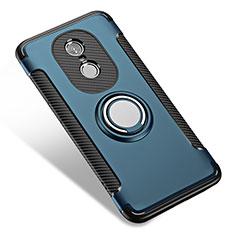Coque Contour Silicone et Plastique Mat avec Support Bague Anneau pour Xiaomi Redmi Note 4 Standard Edition Bleu