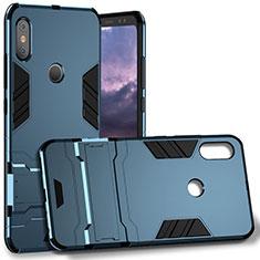Coque Contour Silicone et Plastique Mat avec Support Bague Anneau pour Xiaomi Redmi Note 5 Bleu