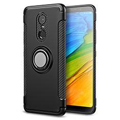 Coque Contour Silicone et Plastique Mat avec Support Bague Anneau pour Xiaomi Redmi Note 5 Indian Version Noir