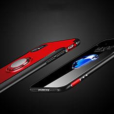 Coque Contour Silicone et Plastique Mat avec Support Bague Anneau T01 pour Apple iPhone X Rouge