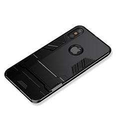 Coque Contour Silicone et Plastique Mat avec Support pour Apple iPhone Xs Noir