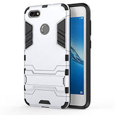 Coque Contour Silicone et Plastique Mat avec Support pour Huawei Enjoy 7 Blanc