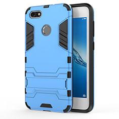 Coque Contour Silicone et Plastique Mat avec Support pour Huawei Enjoy 7 Bleu