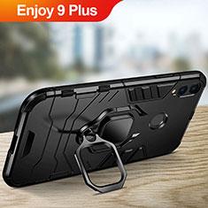 Coque Contour Silicone et Plastique Mat avec Support pour Huawei Enjoy 9 Plus Noir
