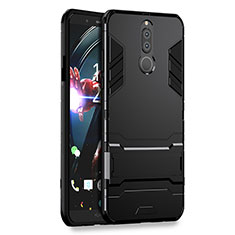 Coque Contour Silicone et Plastique Mat avec Support pour Huawei G10 Noir