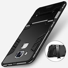 Coque Contour Silicone et Plastique Mat avec Support pour Huawei G9 Plus Noir