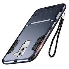 Coque Contour Silicone et Plastique Mat avec Support pour Huawei Honor 6X Bleu
