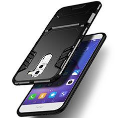 Coque Contour Silicone et Plastique Mat avec Support pour Huawei Honor 6X Noir
